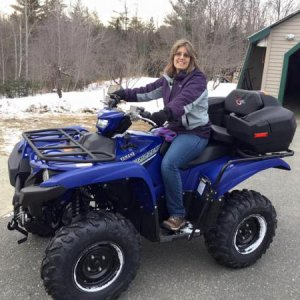 My wife on our new Grizzly